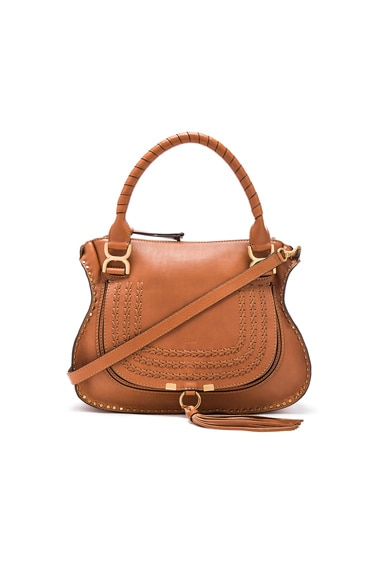 Chloe Medium Braided Leather Marci Bag in Caramel