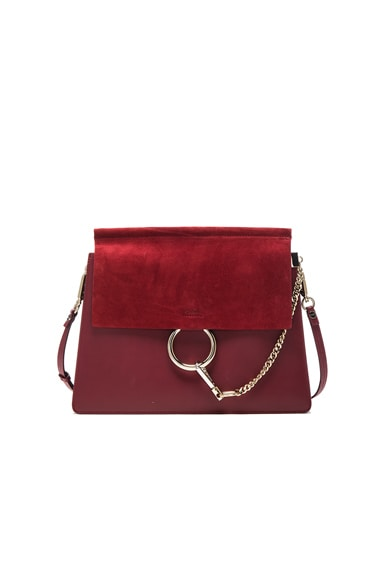 Chloe Medium Leather Faye Bag in Plum Purple