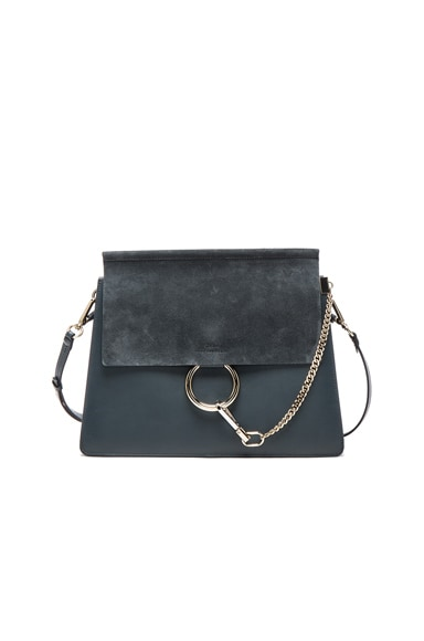 Chloe Medium Leather Faye Bag in Silver Blue
