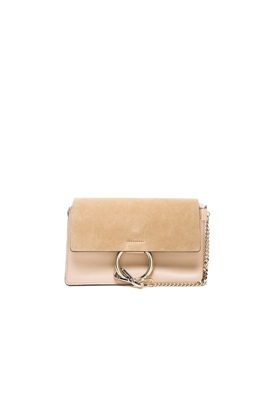 Chloe Small Leather Faye Bag in Pearl Beige