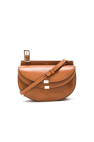 Chloe Mini Leather Georgia Bag in Caramel