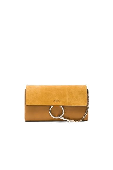 Chloe Suede Faye Clutch in Mustard Brown