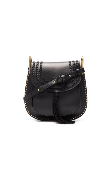 Chloe Medium Braided Leather Hudson Bag in Black