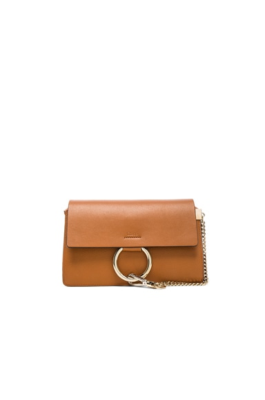 Chloe Small Grained Calfskin Faye Shoulder Bag in Caramel