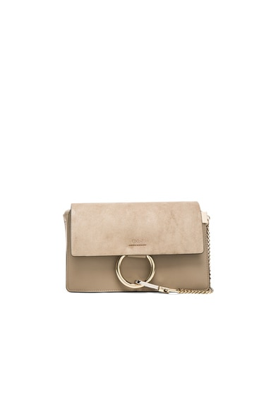 Small Faye Suede & Calfskin Shoulder Bag Chloe