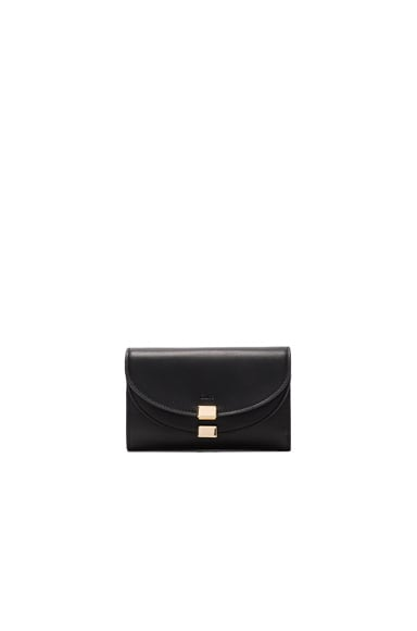 Chloe Leather Georgia Compact Wallet in Black