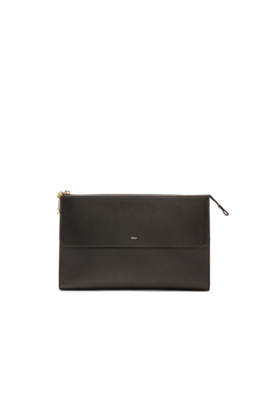 Chloe Grained Leather Flat Pouch in Black