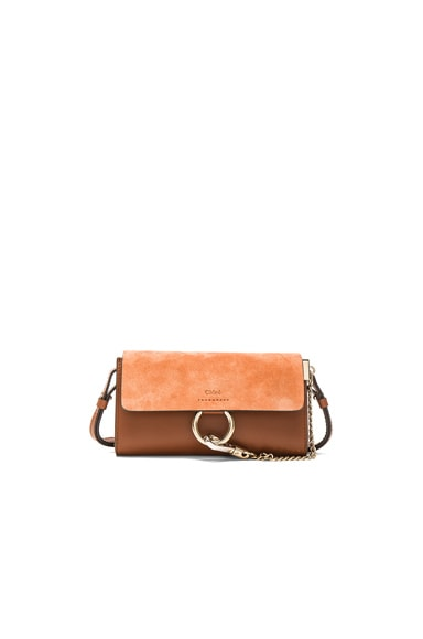 Chloe Leather Faye Strap Wallet in Classic Tobacco