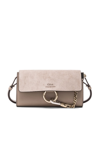 Chloe Leather Faye Strap Wallet in Motty Grey