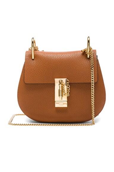 Chloe Mini Grained Leather Drew Bag in Caramel