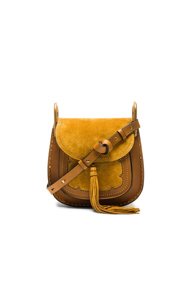 Chloe Small Suede Patchwork Hudson Bag in Mustard Brown