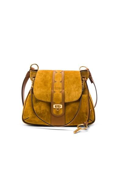 Chloe Medium Stud Suede Lexa Bag in Mustard Brown
