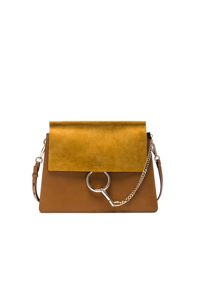 Chloe Medium Leather Faye Bag in Mustard Brown