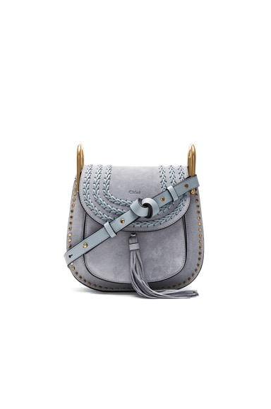 Chloe Small Suede Hudson Shoulder Bag in Fresh Blue