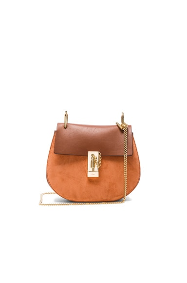 Chloe Small Suede & Calfskin Drew Shoulder Bag in Classic Tobacco