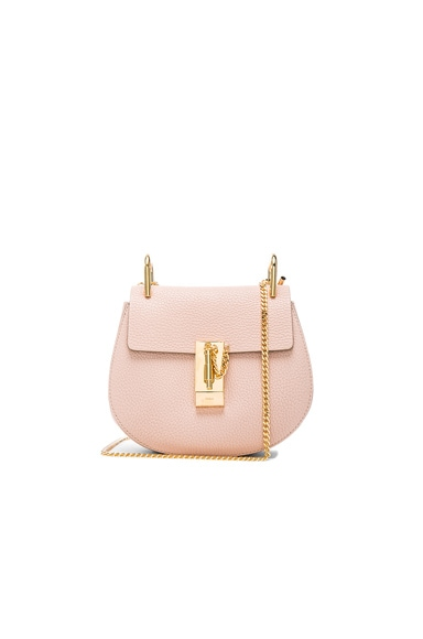 Chloe Mini Leather Drew Shoulder Bag in Cement Pink