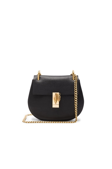 Chloe Goatskin & Calfskin Drew Shoulder Bag in Black