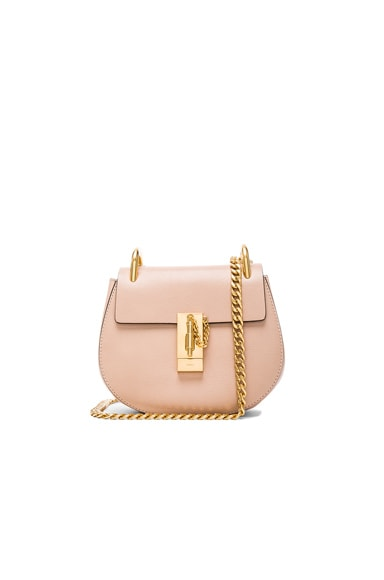 Chloe Mini Leather Drew Shoulder Bag in Biscotti Beige