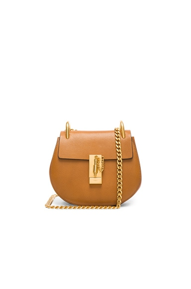 Chloe Mini Leather Drew Shoulder Bag in Caramel