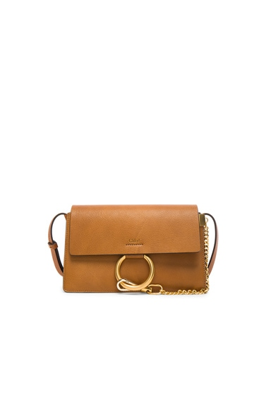Chloe Small Leather Faye Bag in Caramel