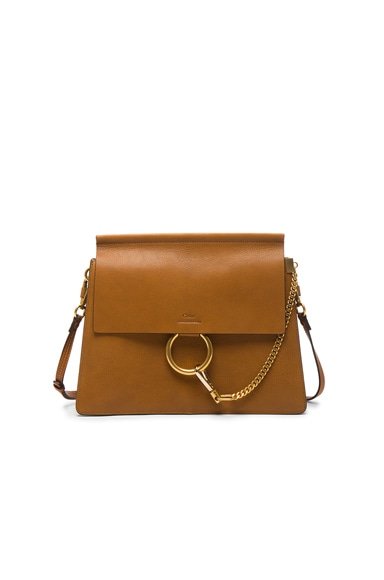 Chloe Medium Goatskin Faye Shoulder Bag in Caramel