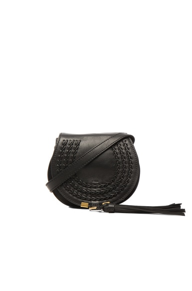 Chloe Small Leather Braid Marcie Satchel in Black