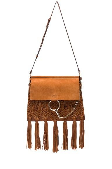 Chloe Medium Braiding & Tassels Faye Shoulder Bag in Caramel