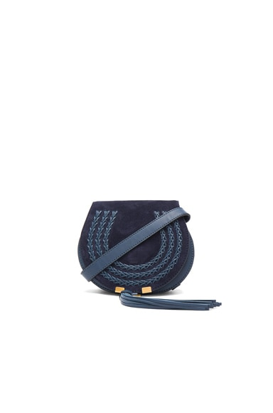 Chloe Small Marcie Suede & Leather Satchel in Navy