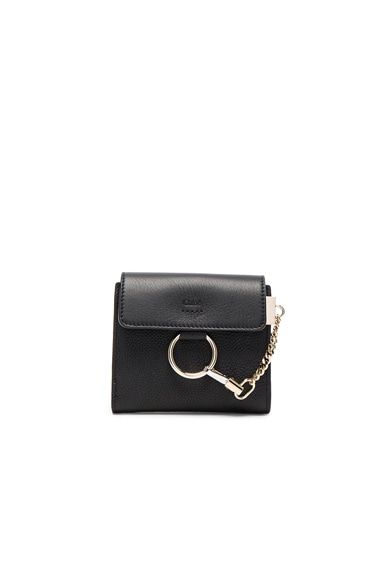 Chloe Leather Faye Square Wallet in Black