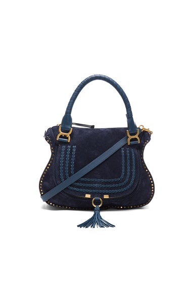 Chloe Medium Marcie Suede & Leather Satchel in Navy