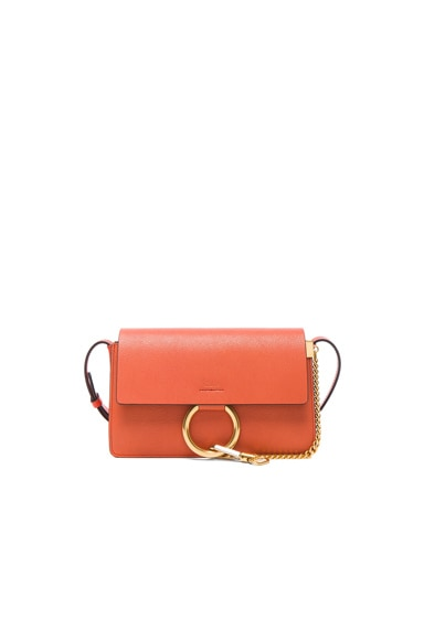 Chloe Small Leather Faye Bag in Sepia Red