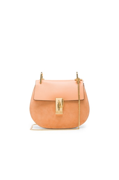 Chloe Small Suede & Calfskin Drew Shoulder Bag in Blushy Pink
