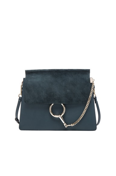 Chloe Medium Faye Grain Leather & Calfskin Shoulder Bag in Silver Blue