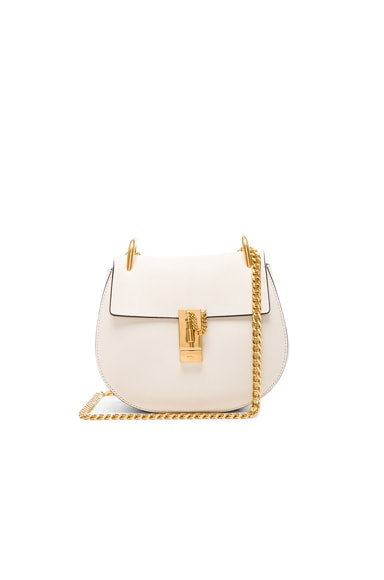 Chloe Small Drew Leather Large Chain Shoulder Bag in Off White