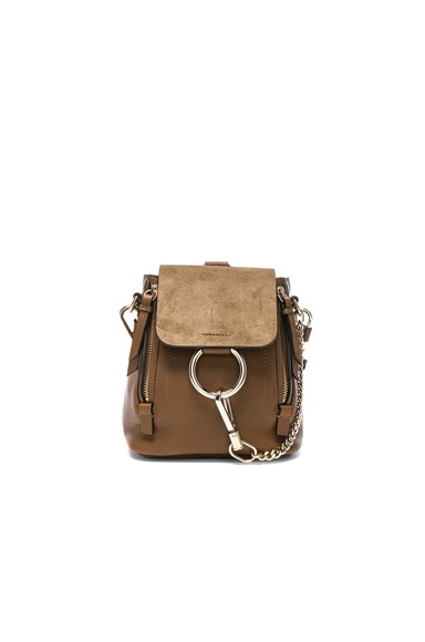Chloe Mini Faye Suede & Leather Backpack in Woody Khaki