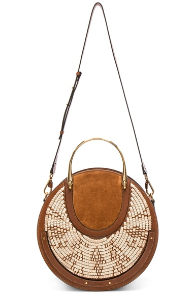 Medium Pixie Raffia with Calfskin & Suede Double Handle Bag