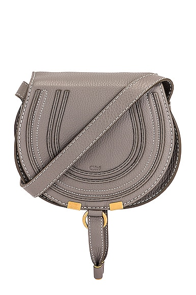 Chloe Small Marcie Saddle Bag in Cashmere Grey