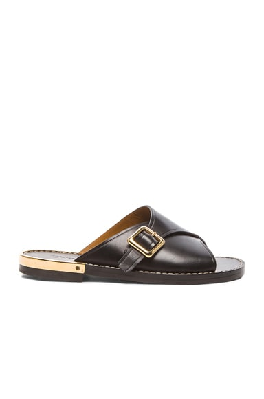 Chloe Leather Buckle Sandals in Black