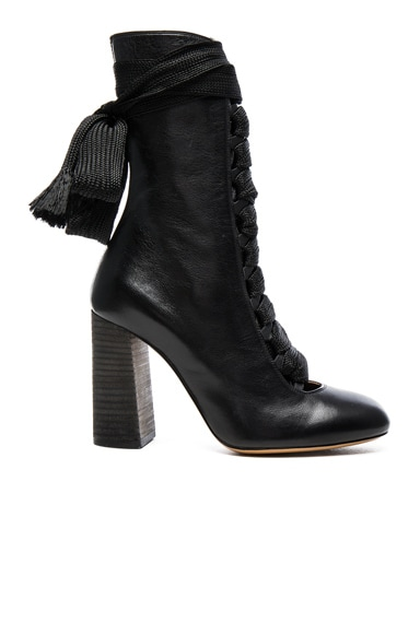 Chloe Lace Up Leather Boots in Black