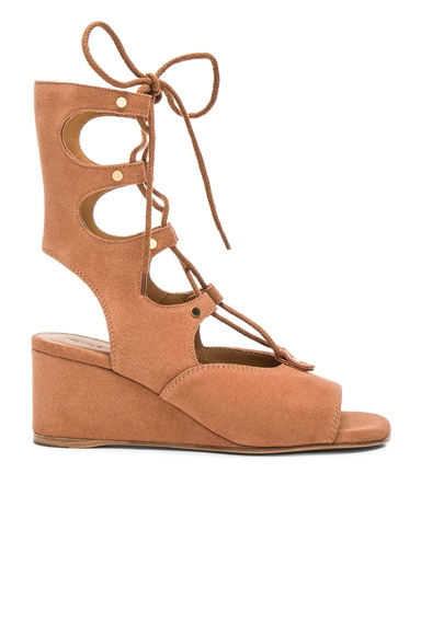Chloe Suede Foster Wedge Sandals in Camel