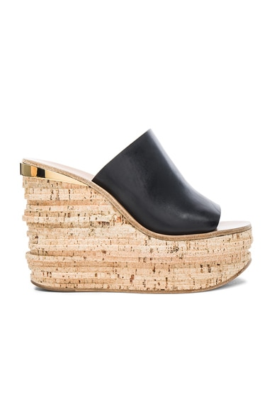 Chloe Camille Leather Wedge Sandals in Black