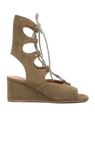 Chloe Foster Suede Wedge Sandals in Military Green
