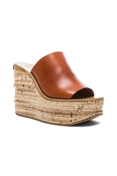 Leather Camille Wedge Sandals