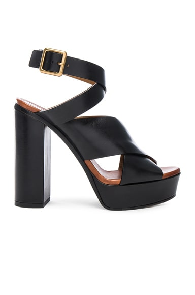 Chloe Strappy Leather Platform Sandals in Black