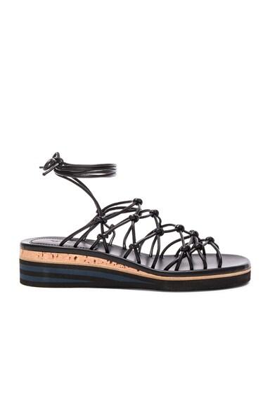 Chloe Leather Net Sandals in Black