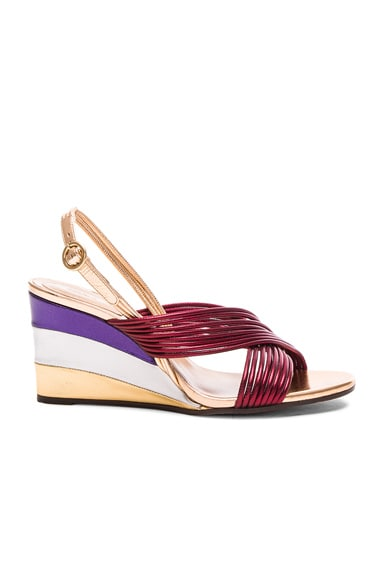 Chloe Leather Rainbow Sandals in Bordeaux Metallic