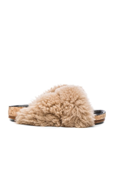 Chloe Kerenn Shearling Fur Sandals in Fawn