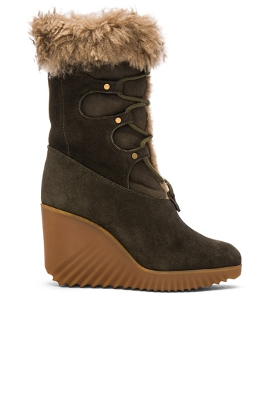 Chloe Suede Foster Wedge Boots in Dark Khaki