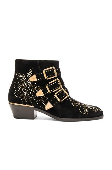 Chloe Velvet Susanna Boots in Black