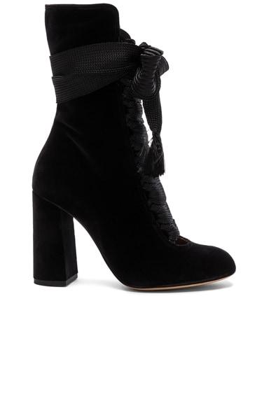 Chloe Velvet Harper Lace Up Boots in Black